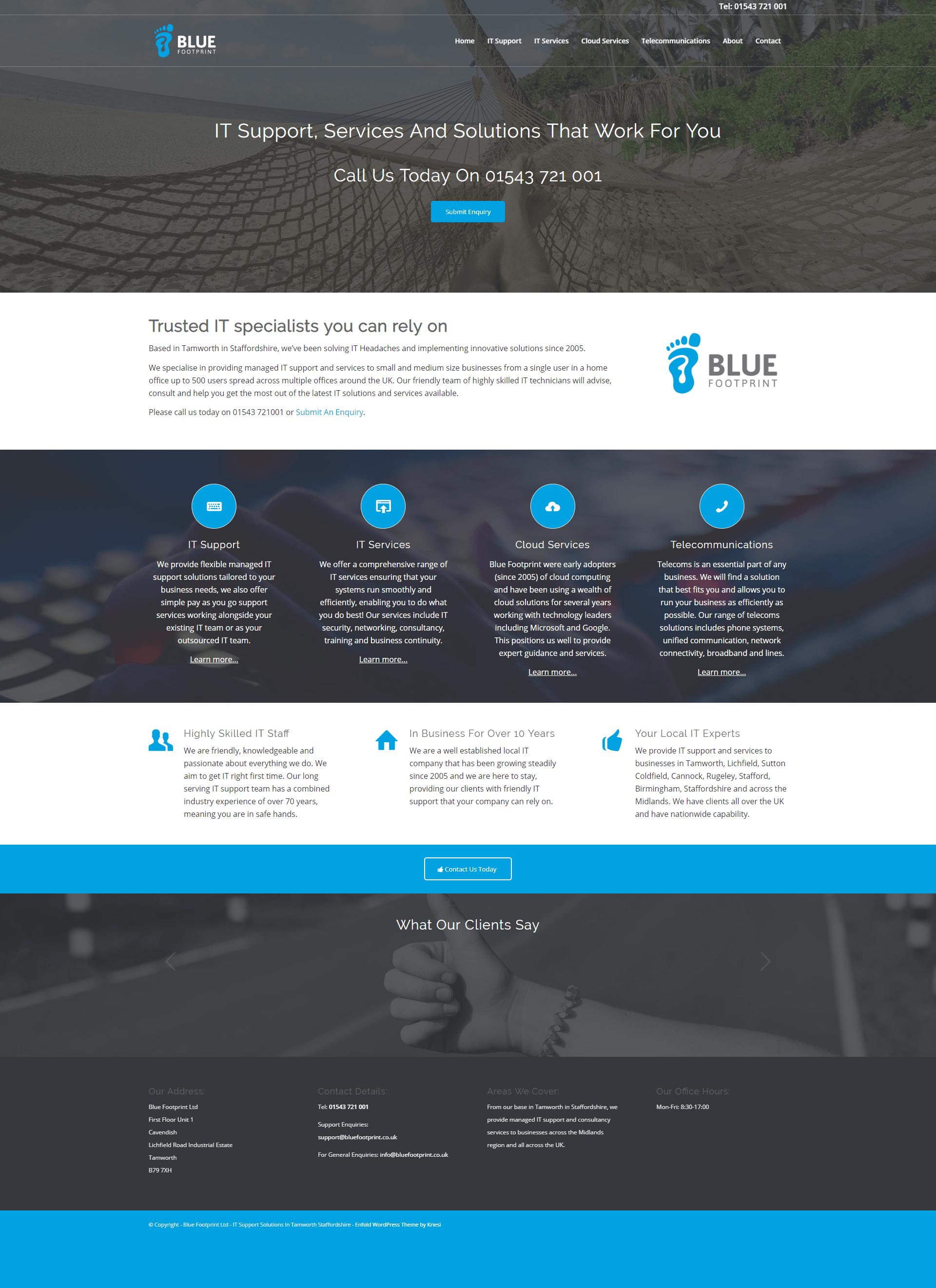Blue Footprint Website