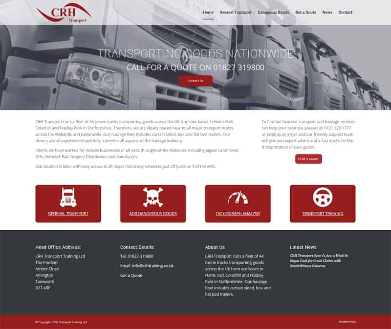 CRH Transport Website Design